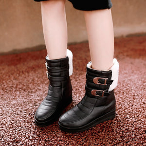 Women Snow Boots Buckle Platform Winter Shoes Woman 2016 3460