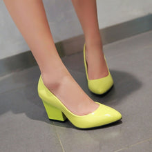 Load image into Gallery viewer, Pointed Toe High Heels Chunky Pumps Women 9889