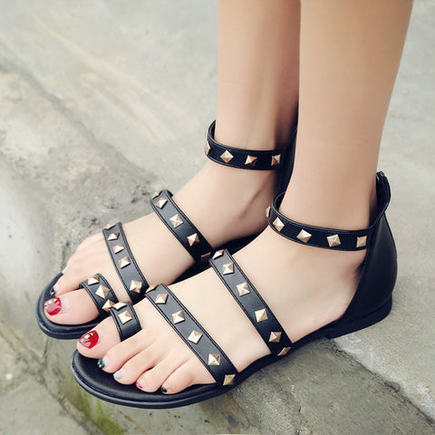 Summer Studded Flats Sandals Shoes Woman