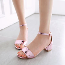 Load image into Gallery viewer, Women Sandals Patent Leather Ankle Straps Pumps High-heeled Shoes