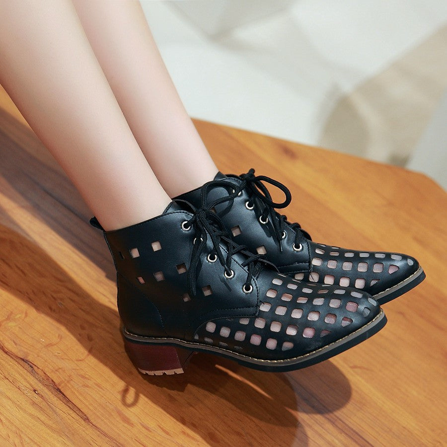 Lace Up Cutout Ankle Boots Women Shoes Fall|Winter