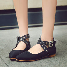Load image into Gallery viewer, Pointed Toe Strappy Buckle Flat Shoes 9228