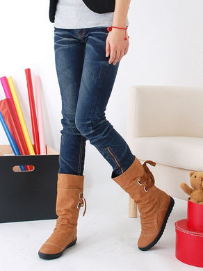 Cross Strap Women Boots Mid Calf Soft Leather Shoes Woman 3315 3315