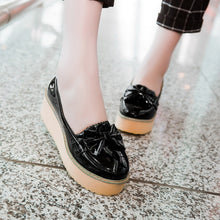 Load image into Gallery viewer, Women Wedges Bowtie Pu Leather Platform Shoes 3419