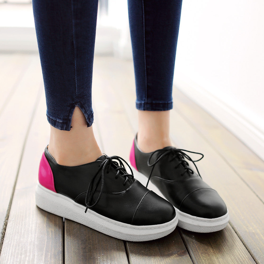 Round Toe Casual Women Patent Leather Platform Shoes