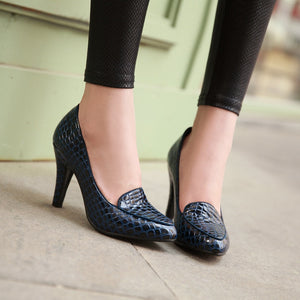 Stone Printed Women Pumps High Heels Dress Shoes 4680