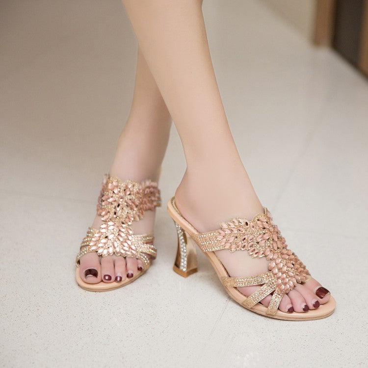 Rhinestone Gold Heel High Heels Slides Sandals Wedding Shoes 5818