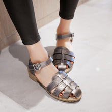 Load image into Gallery viewer, Woven Sandals Ankle Straps Pu Women Shoes
