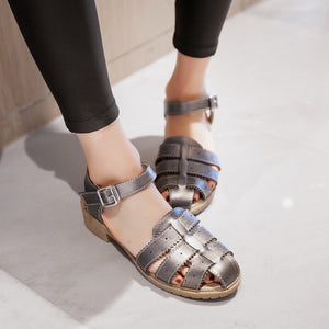 Woven Sandals Ankle Straps Pu Women Shoes