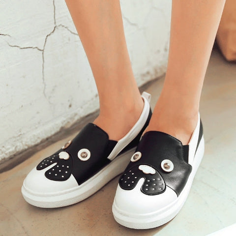 Cartoon Women Loafers with Rhinestone Platform Shoes