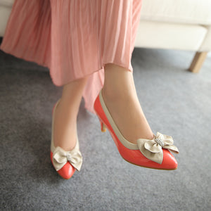 Pointed Toe Rhinestone Women Pumps Bow Dress Shoes High Heels  7269