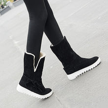 Load image into Gallery viewer, Warm Bow Platform Ankle Boots Lamb Wool Snow Boots  3841