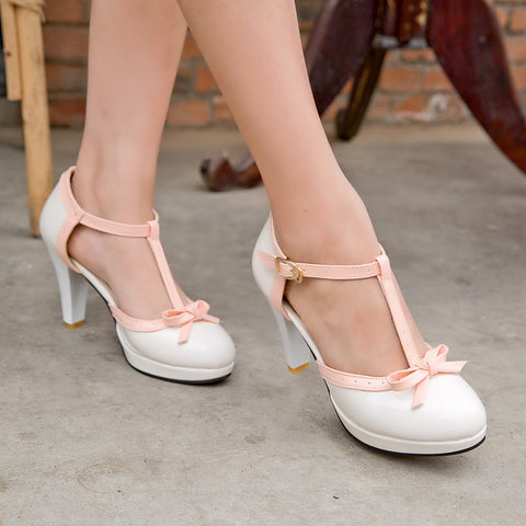 T Straps Women Pumps Bow High Heels Dress Shoes
