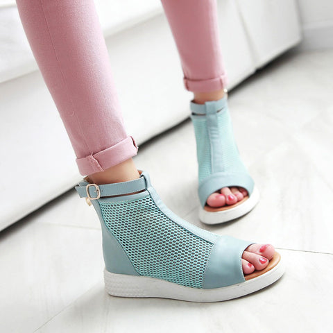 Sandals Boots Peep Toe Mesh Women Shoes