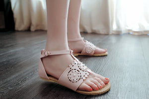 Fashion Flats Sandals Buckle Pearl Women Shoes 6091