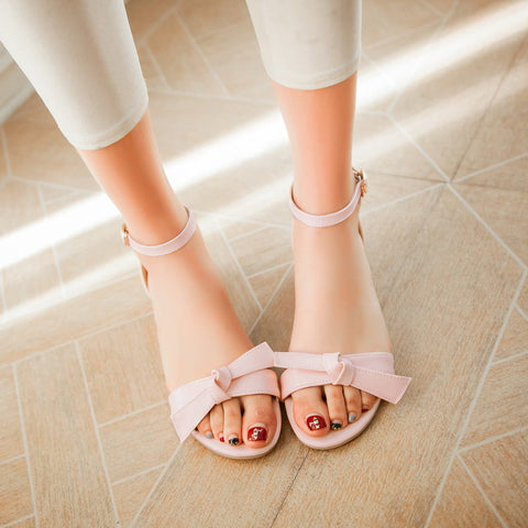 Ankle Straps Sandals Bow Women Wedges Shoes