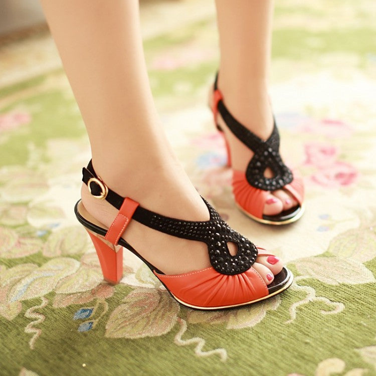 PU Leather Platform Sandals Women Pumps Rhinestone High Heels Shoes Woman