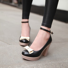 Load image into Gallery viewer, Ankle Straps Bow Women Pumps High Heels Platform Shoes 2013
