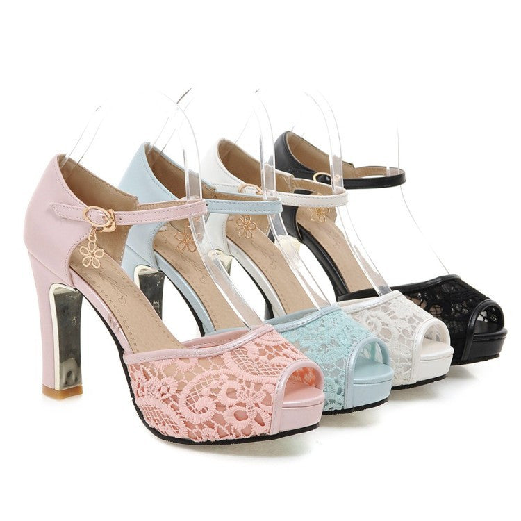 Ankle Straps Lace Platform Sandals High Heels Shoes 5638