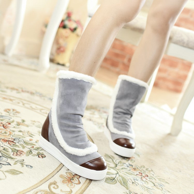 Women Snow Boots Winter Thick Fur Platform Wedges Shoes Woman 2016 3465