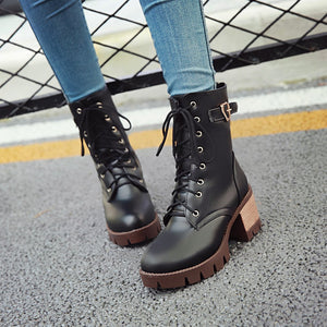 63e79b63a52 Ankle Boots for Women Thick Heels Motorcycle Boots Belt Buckle Lace Up  Autumn Winter Shoes Woman 4711