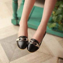 Load image into Gallery viewer, Metal Pu Leather Women Flat Shoes  5078