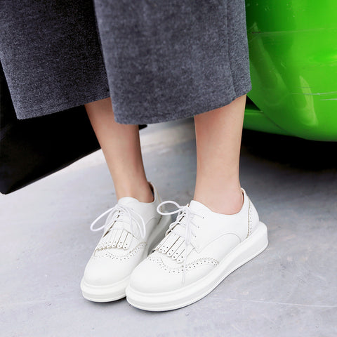 Tassel Lace Up Women Flats Shoes