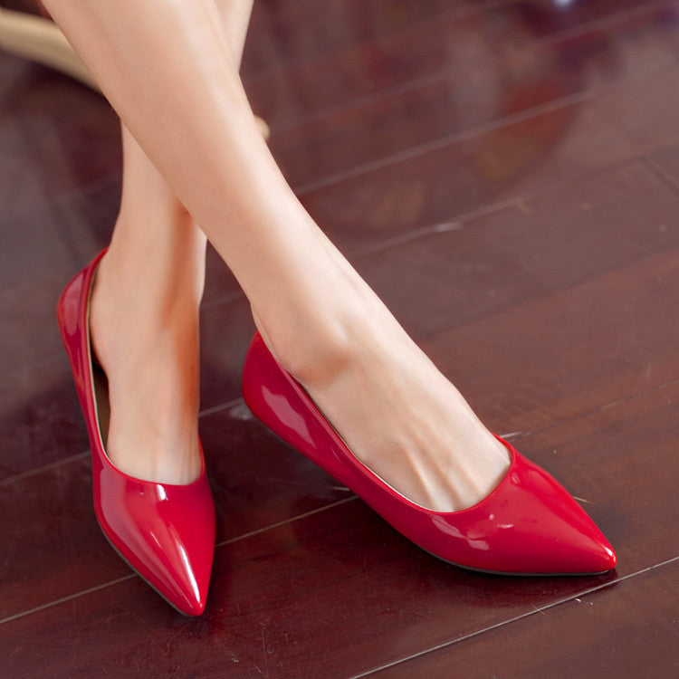 Pointed Toe Patent Leather Flats Jelly Shoes 7102