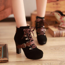 Load image into Gallery viewer, Buckle Lace Up Ankle Boots Chunky Heel Pumps Women 7062