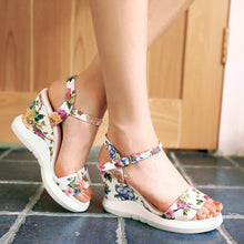 Load image into Gallery viewer, Women Wedges Sandals Flower Printed Platform High-heeled Shoes