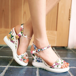 Women Wedges Sandals Flower Printed Platform High-heeled Shoes