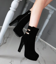 Load image into Gallery viewer, Women Ankle Boots Platform Zipper Artificial Suede High Heels Shoes Woman 7586