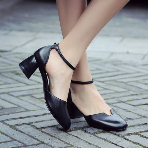 Genuine Leather Sandals Women Pumps High-heeled Shoes Woman