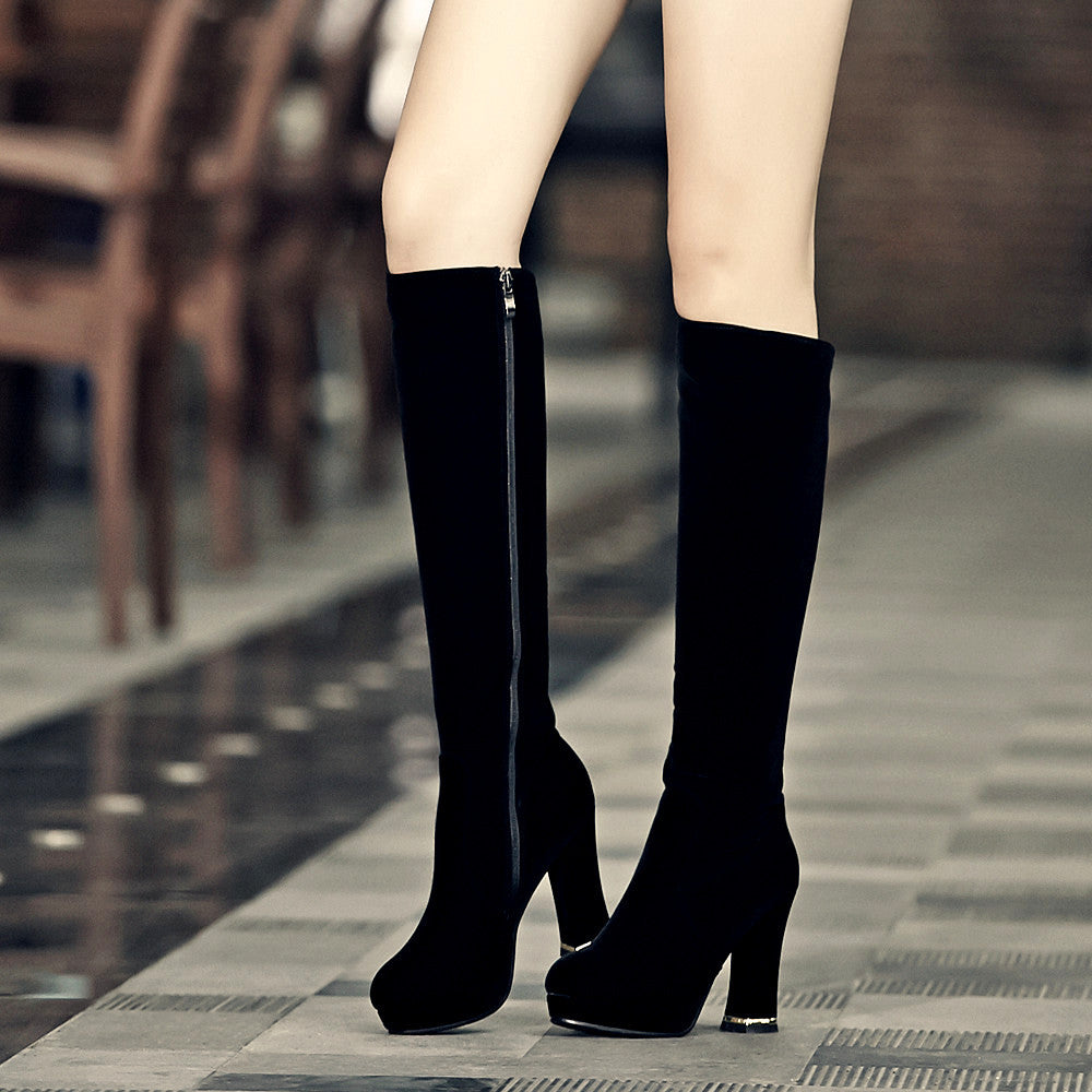 Fashion Women Knee High Boots for Autumn and Winter New Arrive Zipper 4369