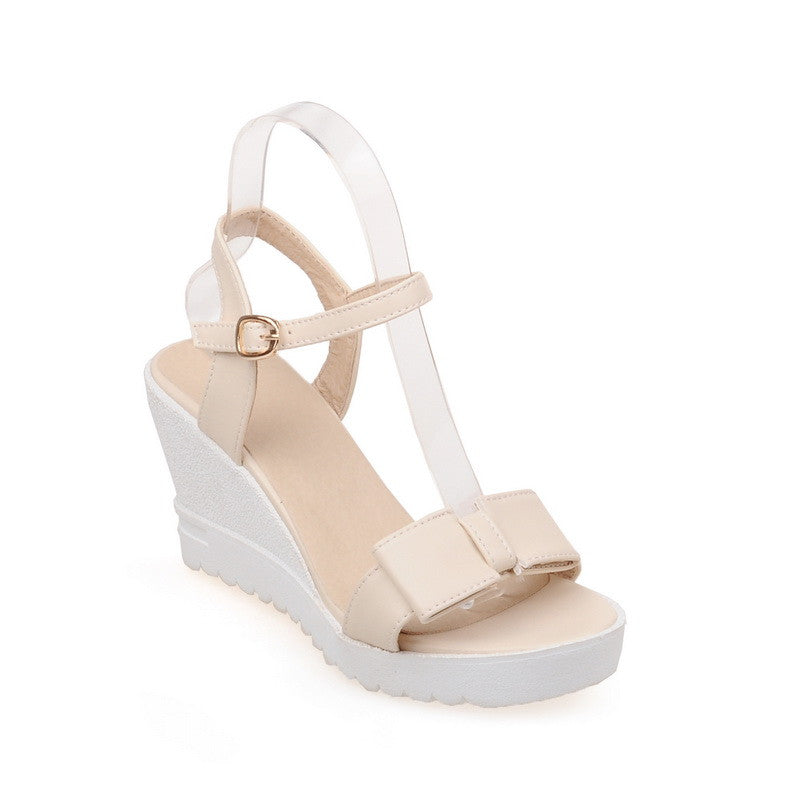 Women Sandals Ankle Straps Bow Wedges Platform High-heeled Shoes