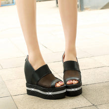 Load image into Gallery viewer, Women Wedges with Mesh Rhinestone Back Zipper Loafers Platform Shoes