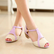 Load image into Gallery viewer, Peep Toes Sandals Women Pumps T Straps Buckle Shoes Woman