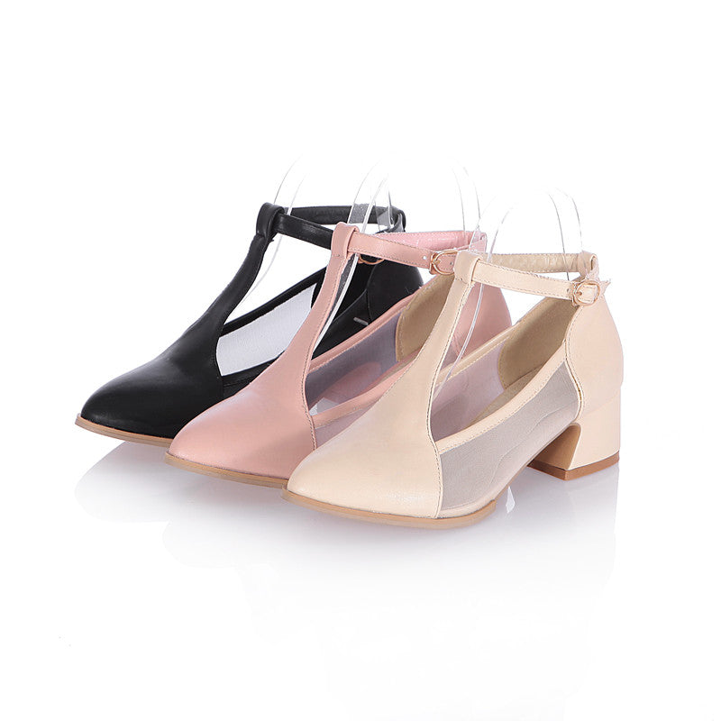 Fashion T Straps High Heels Sandals Women Pumps Shoes 8767