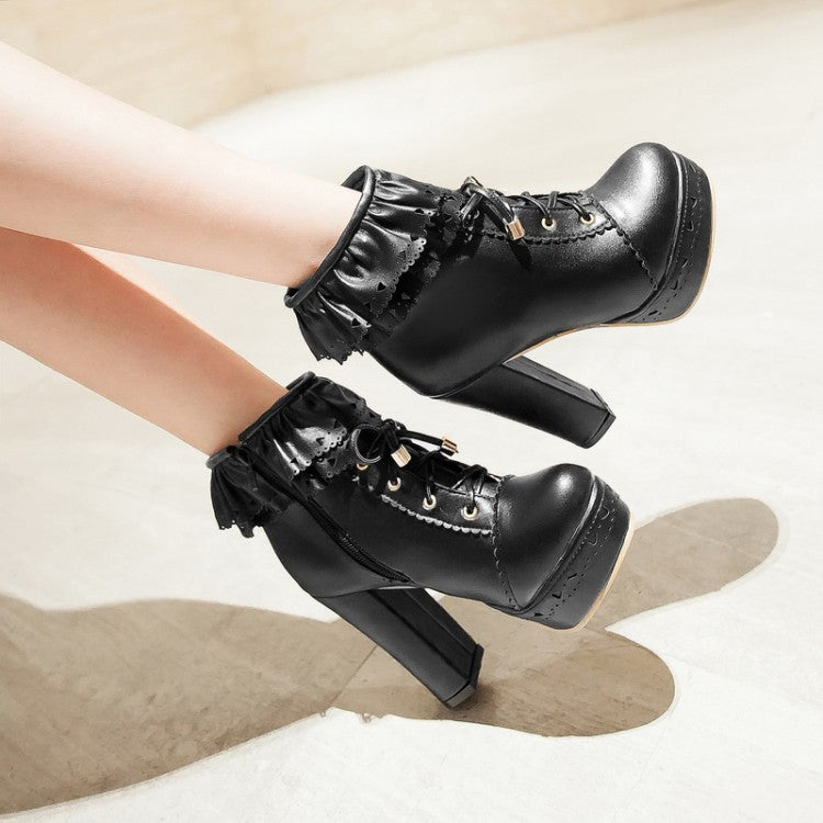 Ruffles Lace Up Women Ankle Boots Platform High Heels Shoes Woman 3362
