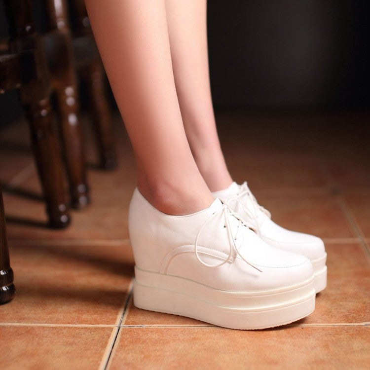 Lace Up Women Wedges Round Toe PU Leather Platform Shoes 3403