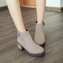 Load image into Gallery viewer, Zipper Ankle Boots Round Toe Thick Heel Women Shoes 76201994