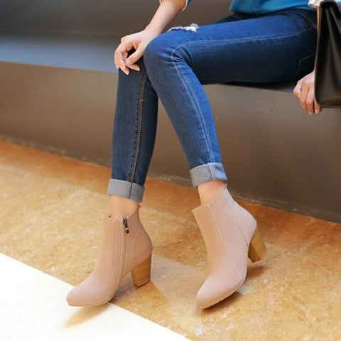 Ankle Boots High Heels Zipper Shoes Woman 3334