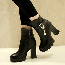 Load image into Gallery viewer, Zipper Pearl Ankle Boots High Heels Women Shoes Fall|Winter 7006