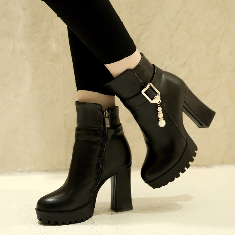 Zipper Pearl Ankle Boots High Heels Women Shoes Fall|Winter 7006