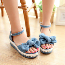 Load image into Gallery viewer, Denim Platform Sandals Ankle Straps Bowtie Wedges Shoes Woman