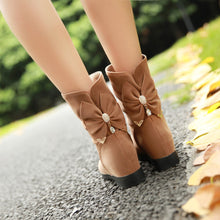 Load image into Gallery viewer, Rhinestone Bow Ankle Boots Women Shoes Fall|Winter 5536