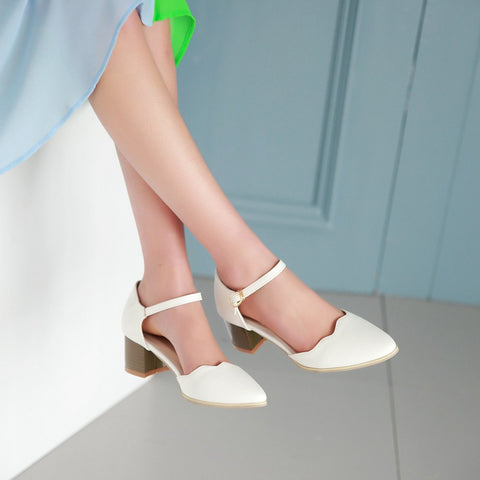 Fashion Round Toe Ankle Straps Sandals High Heels Women Shoes 8615