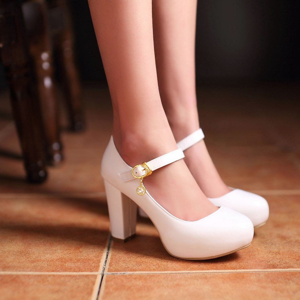 Womens Mary Jane Wedges Pumps Platform Round Toe Ankle Strap Buckle Shoes