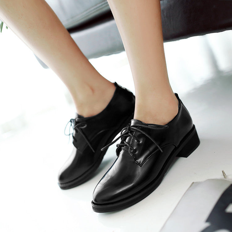 Round Toe Patent Leather Lace Up Wommen Pumps Low Square Heels Shoes 5625