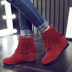 Women Ankle Boots Tassel Studded Yellow Red Black Platform Wedges Shoes Woman 2016 3553